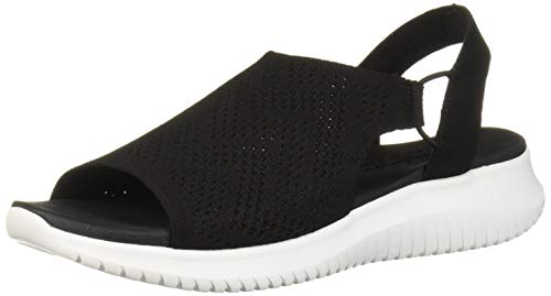 Skechers Women's Ultra Flex-Engineered Knit Sling-Back Sporty Sandal Sport, Black, 5 M US