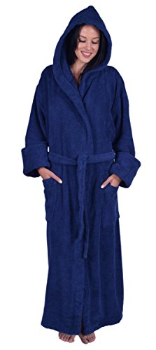 Turquoise Textile Terry Hooded Unisex Robe, 100% Turkish Natural Soft Cotton, Made in Turkey, Navy Blue