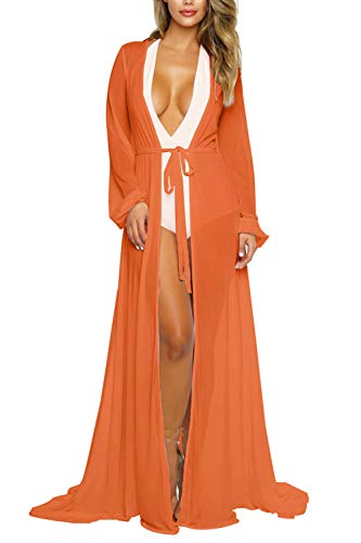 Women's Orange Sexy Long Sleeve Swimsuit Swim Bathing Beach Cover Up One Piece Dress M