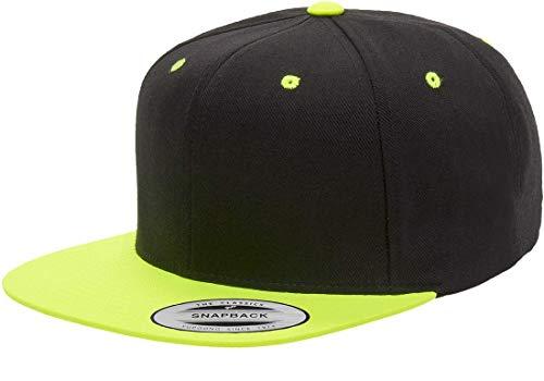 Yupoong Premium Classic Snapback Hat | Flat Brim, Adjustable Ballcap w/Hat Liner (Black/Neon -
