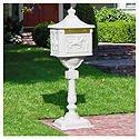 (Victorian Cast Aluminum Pedestal Mailbox System Color: White)