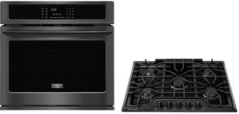 Frigidaire 2-Piece Kitchen Package with FGEW3065PD 30″ Electric Single Wall Oven in Black Stainless Steel and FGGC3047QB 30″ Natural Gas Cooktop in Black