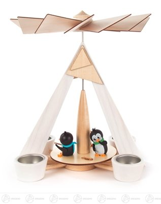 Pyramid with Penguins knows, for tea light BxHxT 245 x 290 x 245mm AGAIN Ore Mountains Folk art Ore mountain craftsmanship table pyramid Christmas pyramid by Rudolphs Schatzkiste (Image #1)