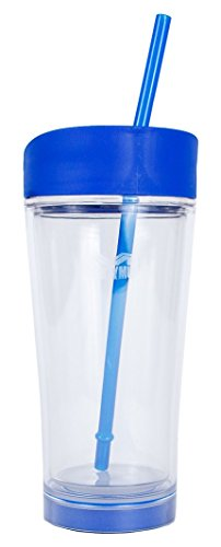 Mighty Mug Ice Tumbler, The Mug That WonÕt Fall, Double Wall Travel Mug and Flex Straw, Blue, 20 oz