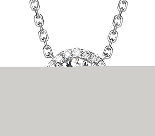 18K White Gold Round Cut Real VS F-G 0.51ct(total) Diamond Vintage Design Halo Pendant Necklace Anniversary Gifts for Women