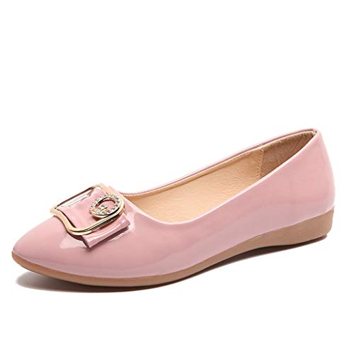 Sunhusing Ladies Pointed Toe Shallow Mouth Lazy Shoes Rhinestones Embellished Work Shoes Flat Sole Pea Shoes Pink