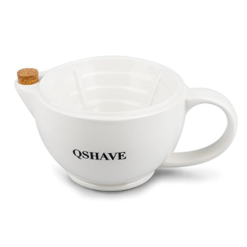 Price comparison product image QSHAVE Shaving Scuttle Mug - Keep Lather Always Warm - White Large Deep Size Bowl Handmade Pottery Cup (White)