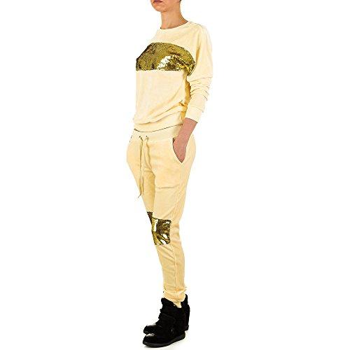 Samt Zweiteiler Anzug Für Damen , Creme In Gr. M bei Ital-Design