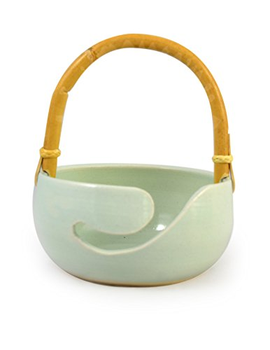 American-Made Ceramic Stoneware Knitting Bowl with Bamboo Handle (Minty (Handle Stoneware)