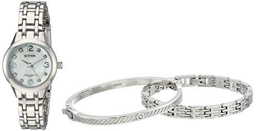 (Sutton by Armitron Women's SU/1016MPSVST Swarovski Crystal Accented Silver-Tone Watch and Bracelet Set)