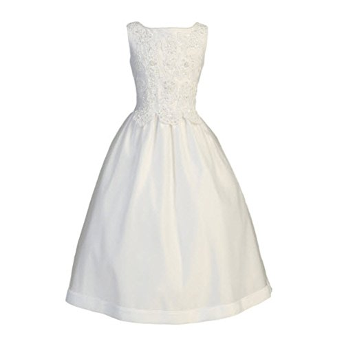 White Satin Communion Baptism Dress with Beaded Applique - Size 12X by Lito