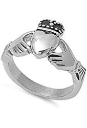 STR-0005 Stainless Steel Claddagh Ring; Comes With Free Gift Box
