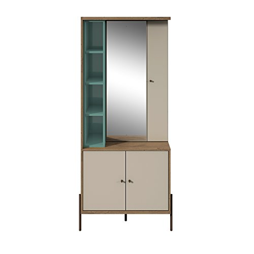 Blue Storage Armoire - Manhattan Comfort 350712 Joy Series Large Bedroom Storage Jewelry Vanity Armoire, Blue/Off-White