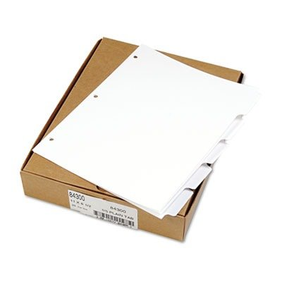 Kleer-Fax 80000 Series Blank Side Tab Divider Set 3-Hole Punched/1/5-Tab Divider