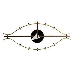 Shise George Nelson Eye Clock, Decorative Modern Silent Wall Clock for Home, Kitchen,Living Room,Office etc. - Mid Century Retro Design(Full Range Available)