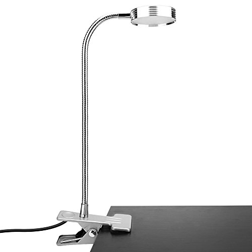 Akaho Book Light, Dimmable LED Reading Lights, Adjustable Gooseneck Eye-Care 2 Color Temperature Table Lamp, Portable Clip on Light Suitable for Bed, Office, Desk and Computers (Silver)
