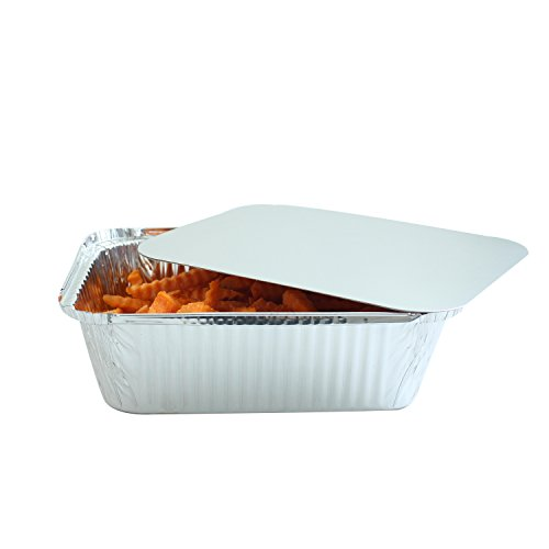 Party Bargains Premium Quality Durable, 9 X 7 Aluminum Foil Pans 5 Lb Capacity with Board Lids (50 Count) by Party Bargains (Image #2)
