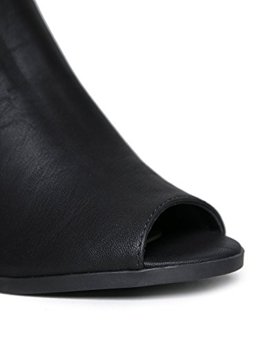 Città Classificata Peep Toe In Legno Con Tacco Velcro Backback Sandalo Slingback Nero Nubuck Pu