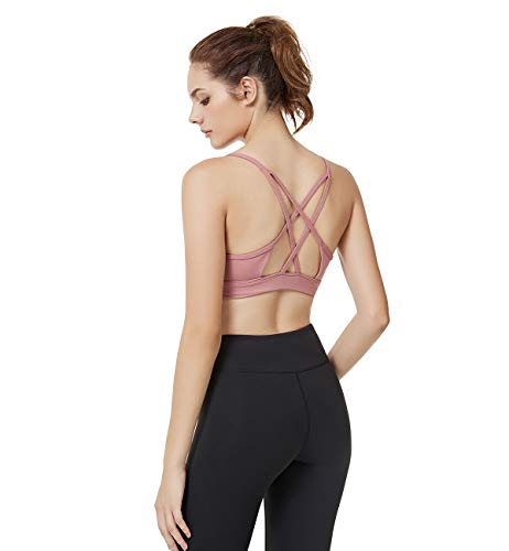 (Yvette Women Criss Cross Back No Bounce Wirefree Yoga Sports Bra for Large Busts Women for Pilates Walking, Cameo Red, L(DF))