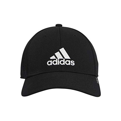 (adidas Men's Gameday Stretch Fit Structured Cap, Black/White, Large/X-Large)
