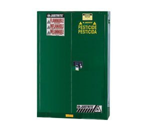JUSTRITE MANUFACTURING 896024 Green 18 Gauge CR Steel Sure-Grip EX Pesticides Safety Cabinet with 2 Self-Close Door, 60 gal Capacity, 34