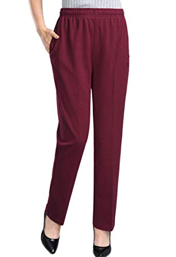 Soojun Womens Stretch Knit Pants Pull On Pants with Elastic Waist, Burgundy, 6