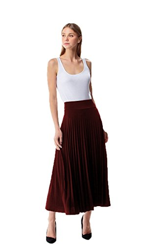 MoDDeals Women's Skirt Pleated Flared Knee Length Long Mini Or Short Midi and Maxi for Office Casual Or Dressy Party (X-Large, Burgundy Red Maxi)