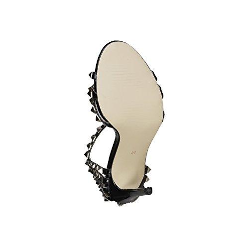 V 1969 - FEMANDE_NERO Donna Sandali Della Caviglia Cinghia Tacco: 11 cm