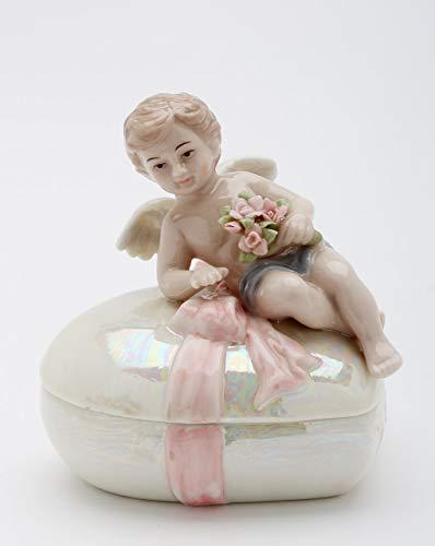 Cosmos Gifts Fine Porcelain Cherub Angel Holding Flowers on Heart Shaped Trinket Keepsake Box, 4