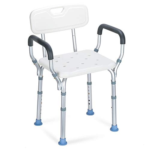 - OasisSpace Heavy Duty Shower Chair with Back - Bathtub Chair with Arms for Handicap, Disabled, Seniors & Elderly - Adjustable Medical Bath Seat Handles - Non Slip Tub Safety