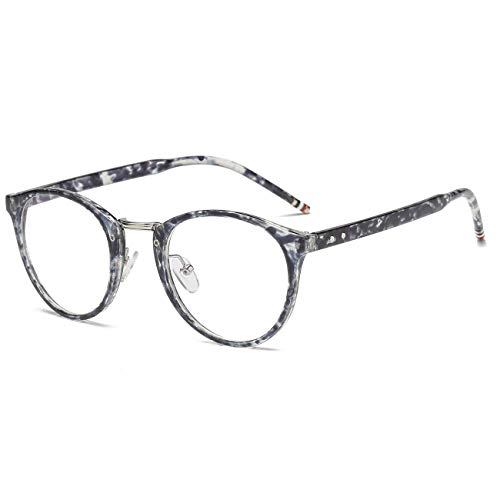 LANVO Blue Light Blocking Glasses, Anti Eye Strain Headache, Computer Reading/Game Glasses UV400 Transparent Lens, Grey Flower ()