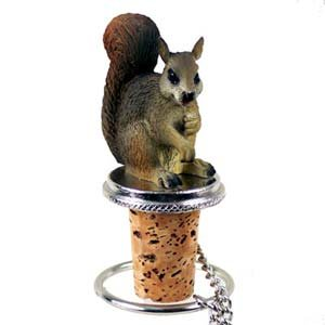 1 X Squirrel Bottle Stopper - Red