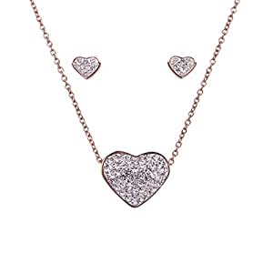 Bevilles Rose Stainless Steel Crystal Heart Necklace & Earrings Set