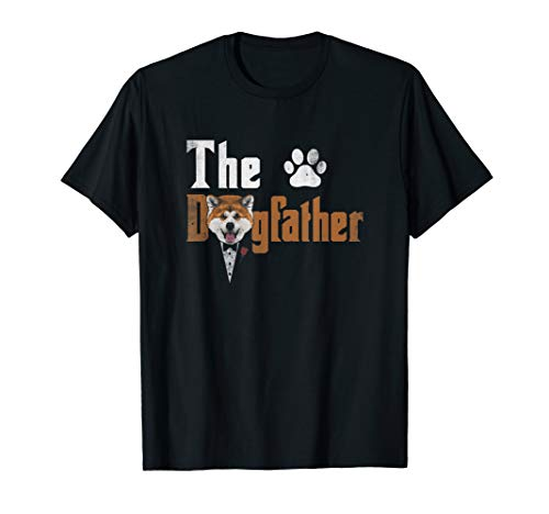 Mens The Dogfather Akita Inu Dog Dad Tshirt Father's Day Gifts ()