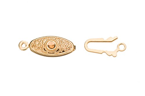 Filigree Fish Tab Clasp 14K Gold Finished With Tab And Safety 27X6.5mm sold per 10pcs/pack (3pack bundle), SAVE $2