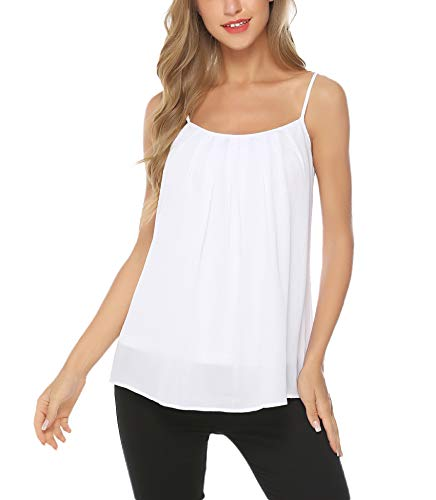 Aibrou Women's Flowy V Neck Strappy Loose Tank Tops Camisole Shirt White
