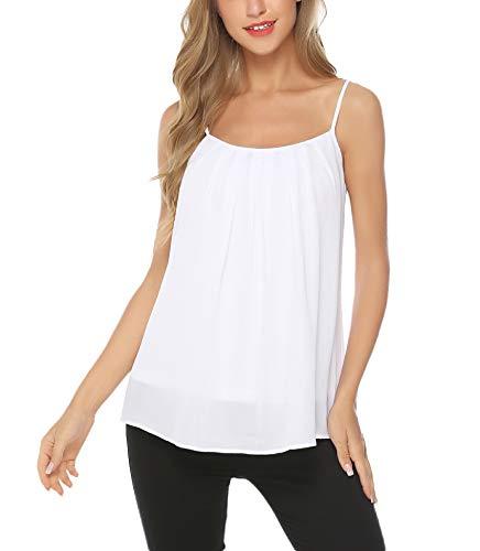 - Aibrou Women's Casual Basic Strappy Velvet V Neck Cami Tank Top White