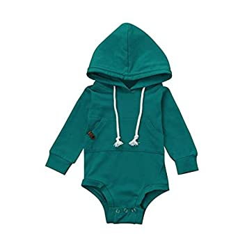 89b5c9dc3 Jshuang Boy's Solid Color Hooded Sweater,Newborn Infant Baby Boy Girl  Hooded Romper Jumpsuit Tops