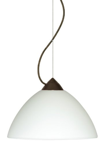 Besa Lighting 1KX-420107-LED-BR 1X6W GU24 Tessa LED Pendant with White Glass, Bronze Finish