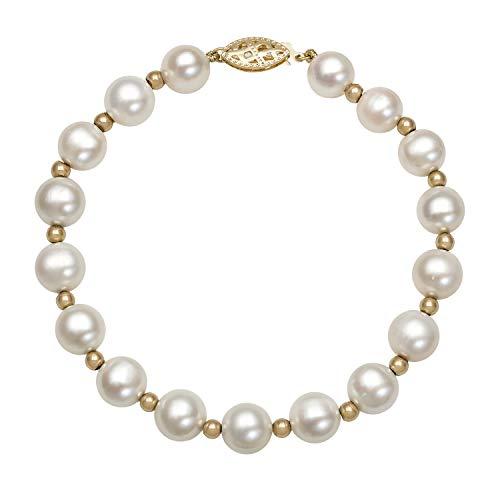 14k Yellow Gold AA 8.0-8.5mm Genuine Cultured Freshwater Pearl Strand Bracelet,7.5