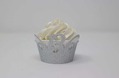 All About Details 13 Cupcake Wrappers,12pcs (Glitter Silver)