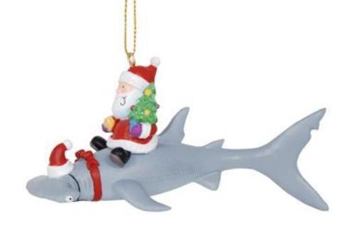 Cape Shore Santa Riding Hammerhead Shark Coastal Deep Sea Christmas Holiday - Lover Ornament