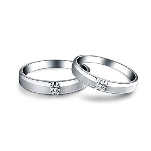 Gnzoe 18K White Gold Round Wedding Rings Sets for Him and Her