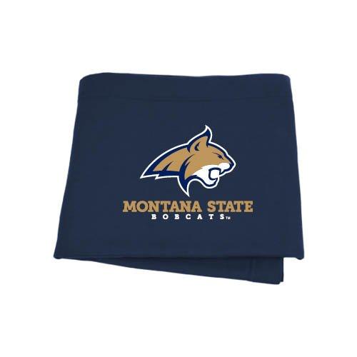 (CollegeFanGear Montana State Navy Sweatshirt Blanket 'Bobcat Head w/Montana State Bobcats Stacked')