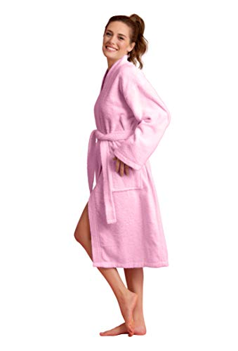 Deluxe Spa-Style Women Terry Kimono Bathrobe Thick 100% Turkish Cotton (Small, Think Pink)