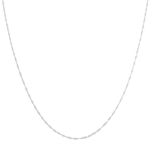 14k White Gold 0.85mm Dainty Singapore Chain (18 inch)