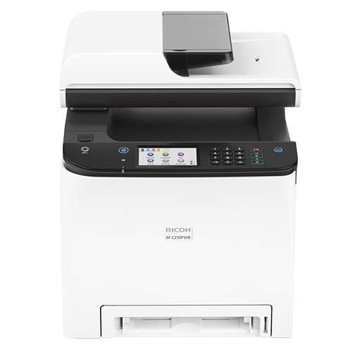 Ricoh M C250FWB Digital Color Multifunction Laser Printer, 25 Color ppm, 600x600 dpi, Standard 250 Sheets Input Tray - Print, Copy, Scan, Fax