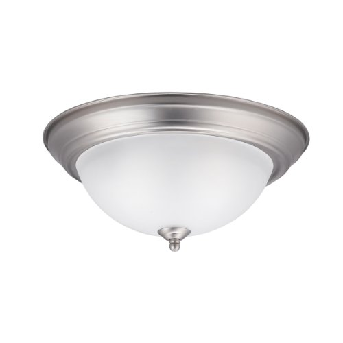 Kichler Lighting 8112NI Transitional 2 Light Flush Mount, Brushed Nickel  Finish With Satin Etched Glass