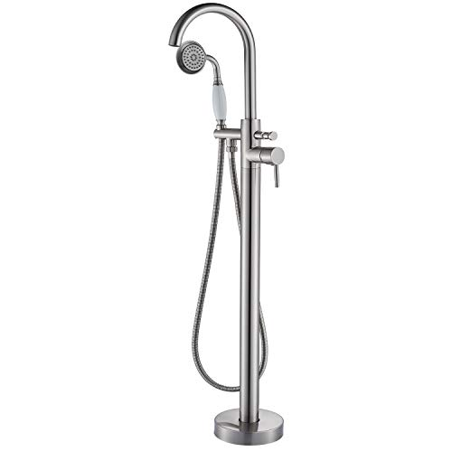 Senlesen Floor Mount Bathroom Freestanding Tub Faucets Single Handle Bathtub Mixer Tap with Hand Sprayer Brushed Nickel