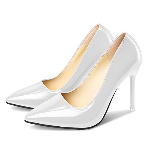 Sexy Blanc Escarpins Bride Aiguille Cheville Dessus Talon Haut 10cm Autres PADGENE Femme Soirée Cuir AqFC7T